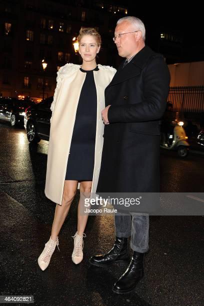 Elena Perminova and Alexander Lebedev attend the Giambattista Valli show as part of Paris Fashion Week Haute Couture Spring/Summer 2014 on January 20...