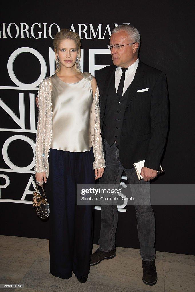 Elena Perminova and Alexander Lebedev attend the Giorgio Armani Prive show as part of Paris Fashion Week Haute Couture Spring/Summer 2014, at Palais de tokyo in Paris.