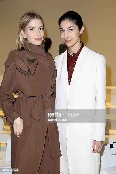 Elena Perminova and Amalie Gassmann Attend the Mugler show as part of the Paris Fashion Week Womenswear Fall/Winter 2015/2016 on March 7 2015 in...