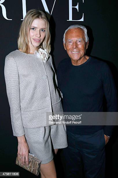 Elena Perminova and Giorgio Armani pose Backstage after the Giorgio Armani Prive show as part of Paris Fashion Week HauteCouture Fall/Winter...