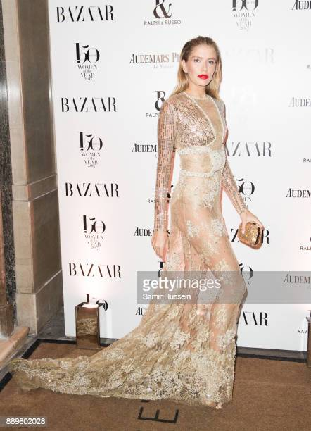 Elena Perminova arrives at the Harper's Bazaar Woman Of The Year Awards held at Claridges Hotel on November 2 2017 in London England