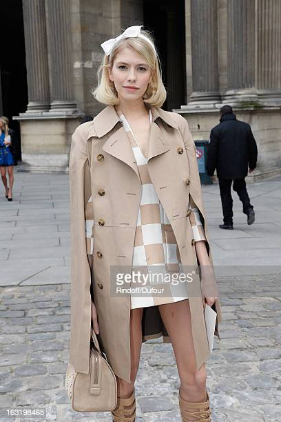 Elena Perminova arrives to attend the Louis Vuitton Fall/Winter 2013 ReadytoWear show as part of Paris Fashion Week on March 6 2013 in Paris France