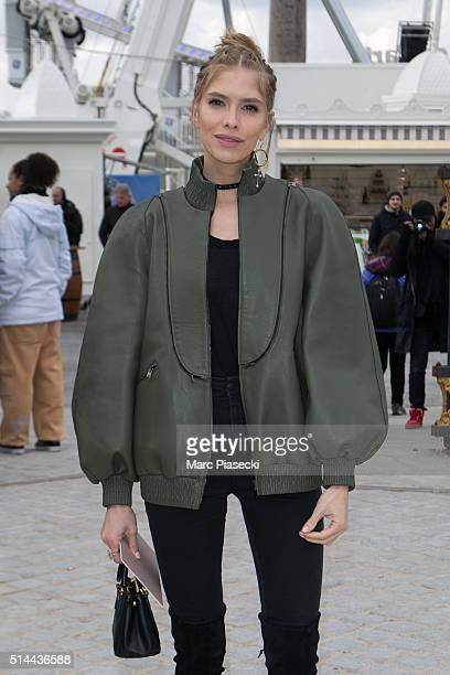 Elena Perminova arrives to attend the 'Valentino' fashion show on March 8 2016 in Paris France