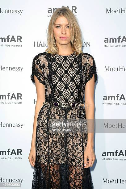 Elena Perminova attends the amfAR dinner at the Pavillon LeDoyen during the Paris Fashion Week Haute Couture on July 5 2015 in Paris France