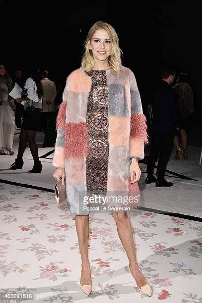 Elena Perminova attends the Giambattista Valli show as part of Paris Fashion Week Haute Couture Spring/Summer 2015 on January 26 2015 in Paris France