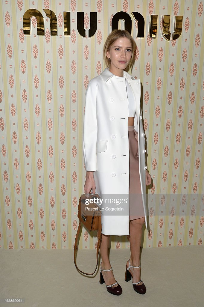Elena Perminova attends the Miu Miu show as part of the Paris Fashion Week Womenswear Fall/Winter 2015/2016 on March 11, 2015 in Paris, France.