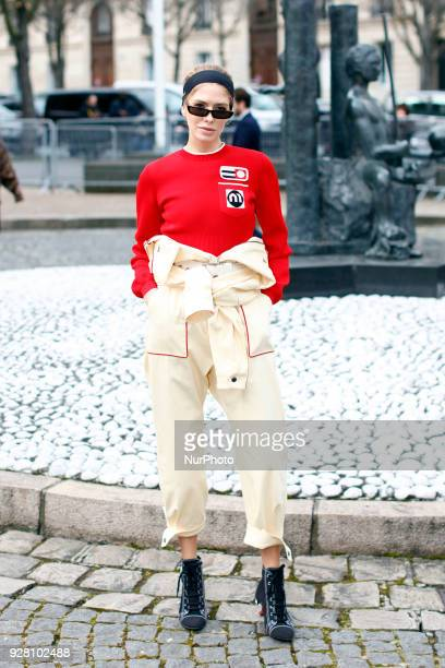 Elena Perminova attends the Miu Miu show as part of the Paris Fashion Week Womenswear Fall/Winter 2018/2019 on March 6 2018 in Paris France