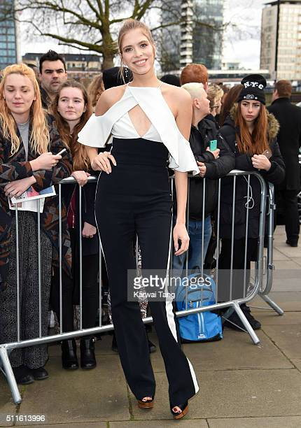 Elena Perminova attends the Topshop Unique show during London Fashion Week Autumn/Winter 2016/17 at Tate Britain on February 21 2016 in London England