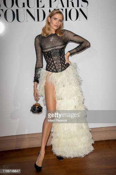 Elena Perminova attends the Vogue diner as part of Paris Fashion Week Haute Couture Fall Winter 2020 at Le Trianon on July 02 2019 in Paris France