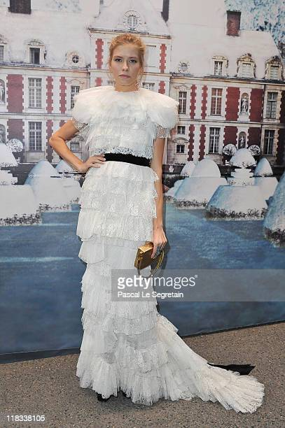 Elena Perminova attends 'The White Fairy Tale Love Ball' in Support Of 'The Naked Heart Foundation' at Chateau De Wideville on July 6 2011 in...