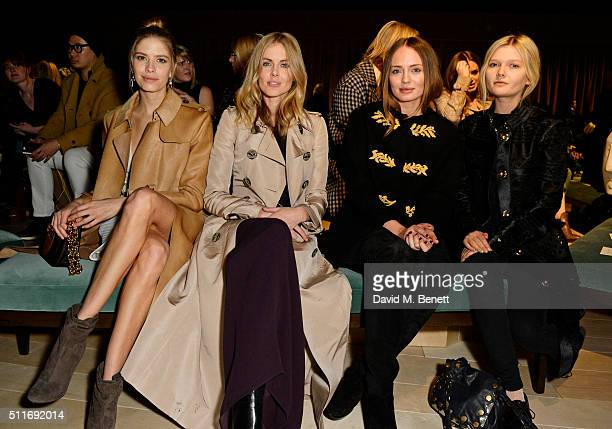 Elena Perminova Donna Air Laura Haddock and Sophie Kennedy Clark wearing Burberry at the Burberry Womenswear February 2016 Show at Kensington Gardens...