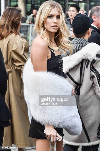 Elena Perminova is seen arriving at Miu Miu fashion show during the Paris Fashion Week Womenswear Fall/Winter 2017/2018 on March 7 2017 in Paris...