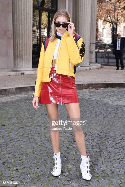 Elena Perminova is seen arriving at Miu Miu show during Paris Fashion Week Womenswear Spring/Summer 2018 on October 3 2017 in Paris France