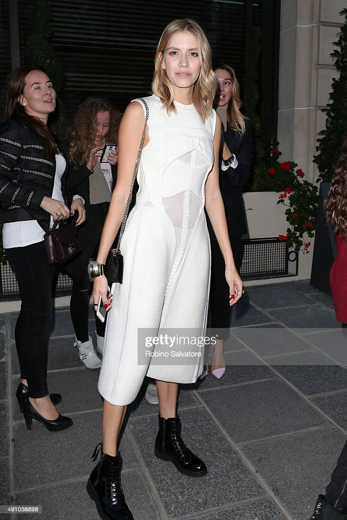 Elena Perminova is seen during the Paris Fashion Week S/S 2016 on October 2, 2015 in Paris, France.