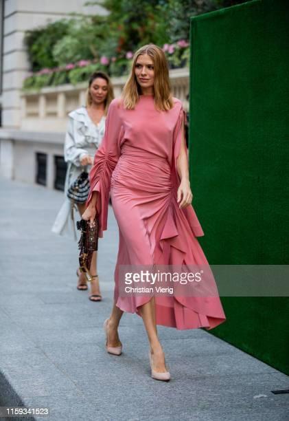 Elena Perminova is seen outside Amfar Dinner during Paris Fashion Week - Haute Couture Fall/Winter 2019/2020 on June 30, 2019 in Paris, France.