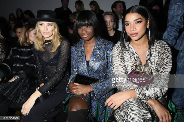 Elena Perminova, Karidja Toure and Hannah Bronfman attend the Elie Saab Show as part of the Paris Fashion Week Womenswear Fall/Winter 2018/2019 on...