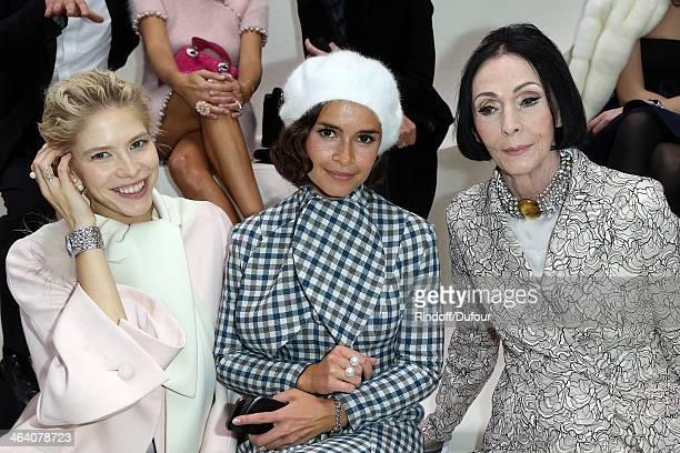 Elena Perminova Miroslava Duma and Kouka attend the Christian Dior show as part of Paris Fashion Week Haute Couture Spring/Summer 2014 on January 20...