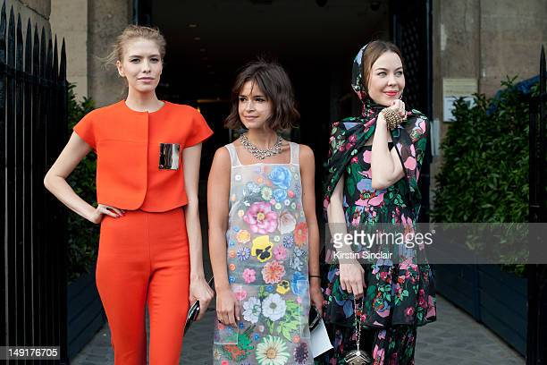 Elena Perminova model Miroslava Duma fashion writer fashion consultant and founder of Buro 24/7 and Ulyana Sergeenko fashion designer at Paris...