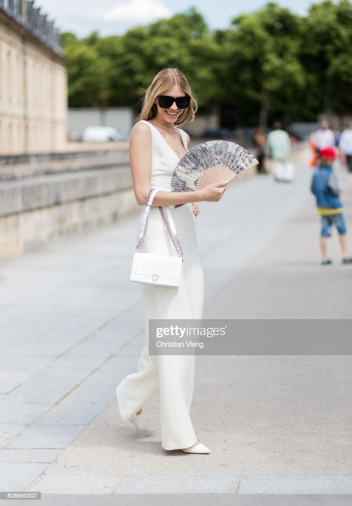 Elena Perminova outside Dior during Paris Fashion Week - Haute Couture Fall/Winter 2017-2018 : Day Two on July 3, 2017 in Paris, France.