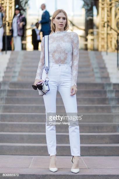 Elena Perminova outside Giambattista Valli during Paris Fashion Week Haute Couture Fall/Winter 20172018 Day Two on July 3 2017 in Paris France