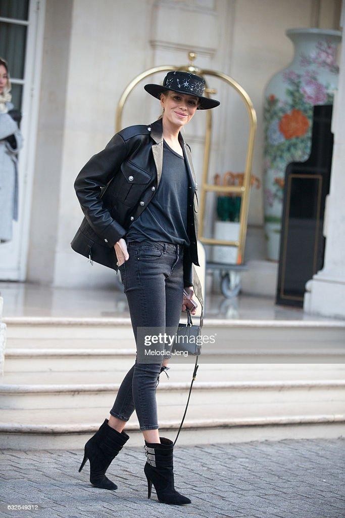 Elena Perminova wears a Versus Versace jacket outside the Francesco Scognamiglio show at a Shangri-La hotel on January 23, 2017 in Paris, France.