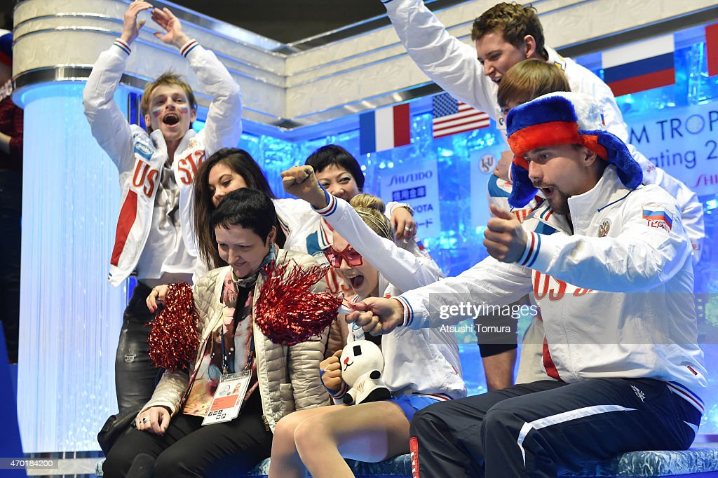 Elena Radionova of Russia celebrates with team-mates in the ladies free skating during the day three of the ISU World Team Trophy at Yoyogi National Gymnasium on April 18, 2015 in Tokyo, Japan.
