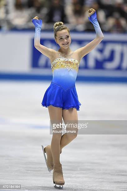 Elena Radionova of Russia competes in the ladies free skating during the day three of the ISU World Team Trophy at Yoyogi National Gymnasium on April...