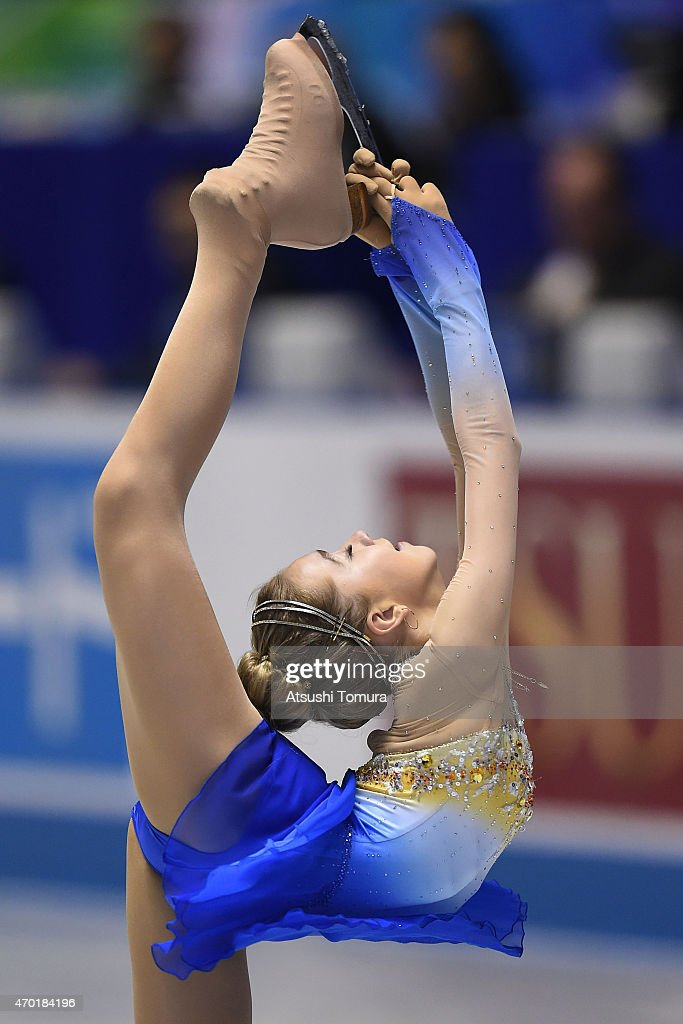 Elena Radionova of Russia competes in the ladies free skating during the day three of the ISU World Team Trophy at Yoyogi National Gymnasium on April 18, 2015 in Tokyo, Japan.