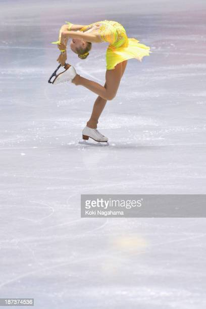 Elena Radionova of Russia competes in the women's short program during day one of ISU Grand Prix of Figure Skating 2013/2014 NHK Trophy at Yoyogi...