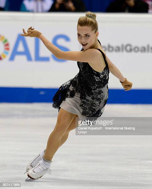Elena Radionova of Russia performs during the Ladies Free Skating during day three of the ISU European Figure Skating Championships 2016 on January...