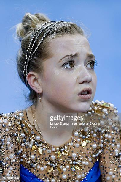Elena Radionova of Russia reacts after competing in the Ice DanceLadies Free Skating on day four of the 2015 ISU World Figure Skating Championships...