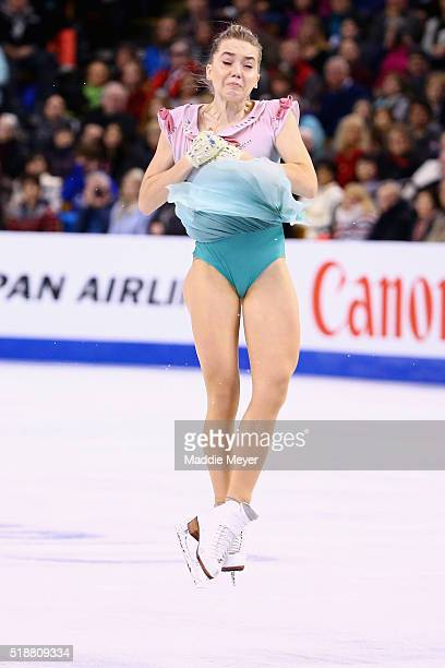 Elena Radionova of Russia skates in the Ladies Free Skate program on Day 6 of the ISU World Figure Skating Championships 2016 at TD Garden on April 2...