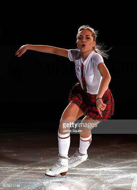 Elena Radionova of Team Europe performs during an exhibition on day 3 of the 2016 KOSE Team Challenge Cup at Spokane Arena on April 24 2016 in...