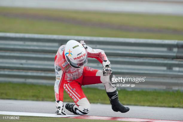 Elena Rosell of Spain and Mapfre Aspar Team riding in place of Julian Simon of Spain and Mapfre Aspar Team crashes out during the first free practice...
