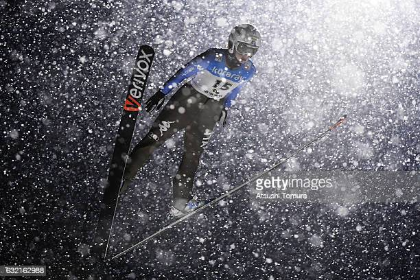 Elena Runggaldier of Italy competes in the Ladies' HS106 normal hill individual during the FIS Ski Jumping World Cup Ladies 2017 In Zao at Zao Jump...