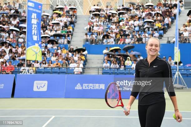Elena Rybakina of Kazakhstan attends a Wuhan open activity on Day 4 of 2019 Dongfeng Motor Wuhan Open at Optics Valley International Tennis Center on...