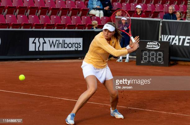 Elena Rybakina of Kazakhstan during her first round match against Clara Tauson of Denmark at day two of 2019 Swedish Open WTA on July 09 2019 in...