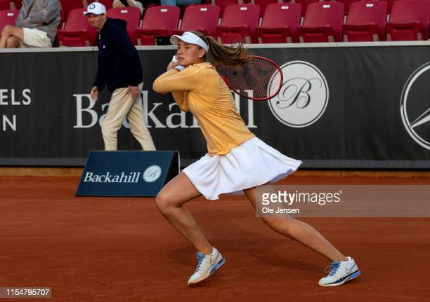 Elena Rybakina of Kazakhstan during her first round match with Clara Tauson of Denmark at day two of 2019 Swedish Open WTA on July 09, 2019 in...