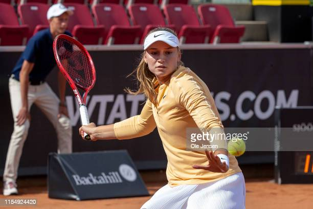 Elena Rybakina of Kazakhstan during her match with Elena Rybakina of Kazakhstan at day three of the 2019 Swedish Open WTA on July 10, 2019 in Bastad,...