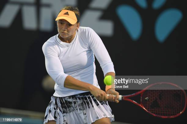 Elena Rybakina of Kazakhstan hits a backhand during her first round match against Tamara Zidensek of Slovakia on day four of the 2020 Hobart...