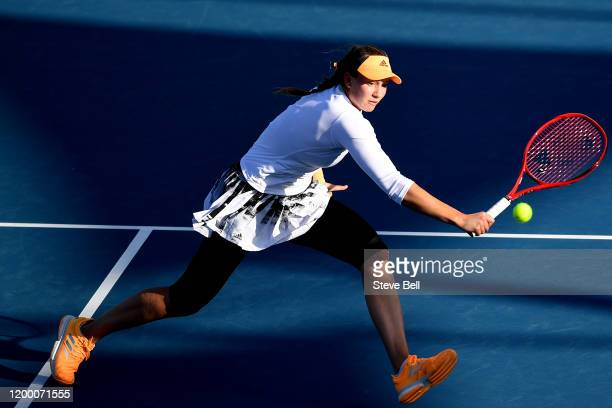 Elena Rybakina of Kazakhstan hits a backhand shot during her semi final singles match against Heather Watson of Great Britainduring day seven of the...