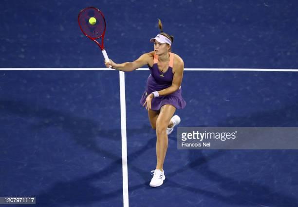 Elena Rybakina of Kazakhstan in action against Simona Halep of Romania during their Women's Singles Final match of the WTA Dubai Duty Free Tennis...