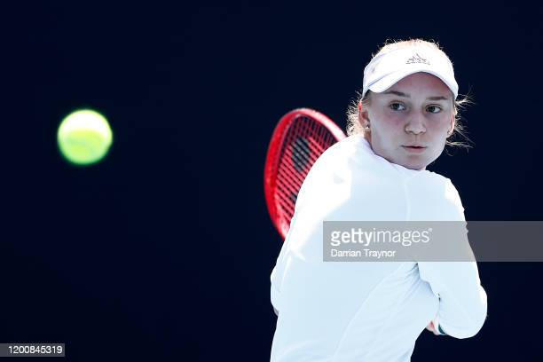 Elena Rybakina of Kazakhstan plays a backhand during her Women's Singles first round match against Bernarda Pera of the United States on day two of...