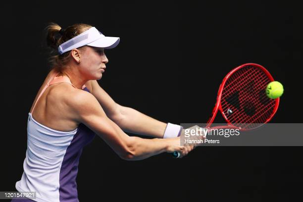 Elena Rybakina of Kazakhstan plays a backhand during her Women's Singles third round match against Ashleigh Barty of Australia on day five of the...