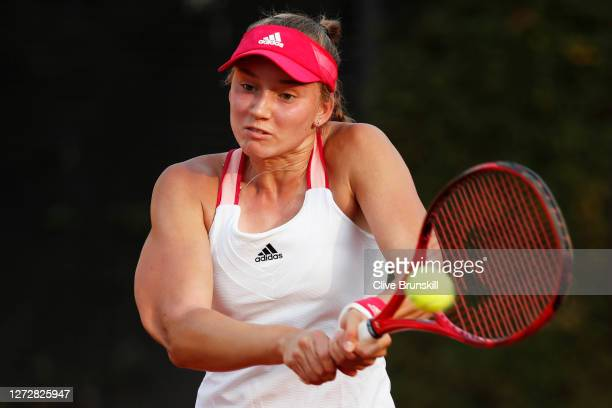 Elena Rybakina of Kazakhstan plays a backhand in her round two match against Marie Bouzkova of The Czech Republic during day three of the...