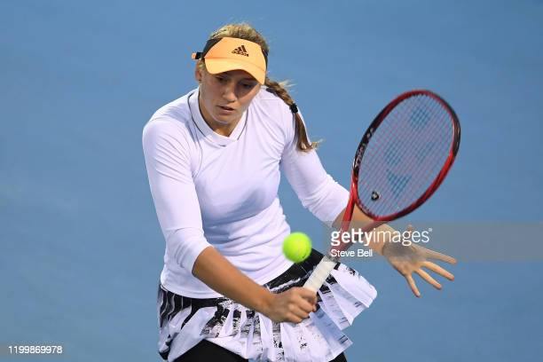 Elena Rybakina of Kazakhstan plays a backhand shot during her quarter final singles match against Lizette Cabrera of Australia on day six of the 2020...