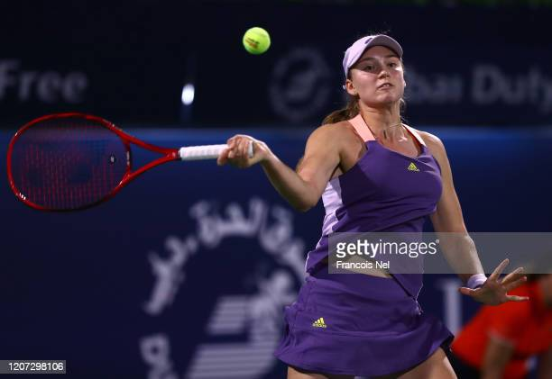 Elena Rybakina of Kazakhstan plays a forehand against Katerina Siniakova of Czech Republic during Day Three of the Dubai Duty Free Tennis at Dubai...