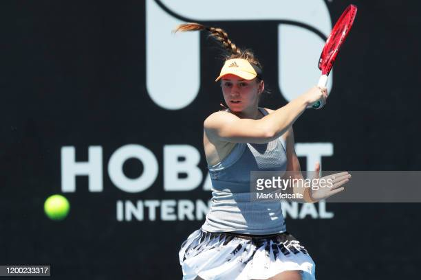 Elena Rybakina of Kazakhstan plays a forehand during her final singles match against Zhang Shuai of China during day eight of the 2020 Hobart...