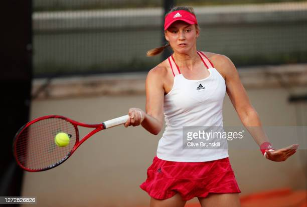Elena Rybakina of Kazakhstan plays a forehand in her round two match against Marie Bouzkova of The Czech Republic during day three of the...
