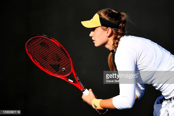 Elena Rybakina of Kazakhstan prepares to receive during her semi final singles match against Heather Watson of Great Britainduring day seven of the...